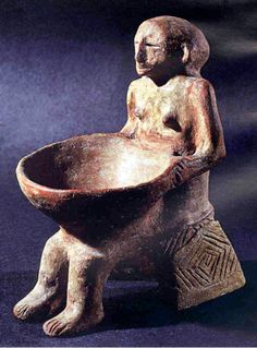 Woman with bowl Novy Becej, Serbia 19.4 cm.– Culture Vinča Culture. ca. 5000 BC