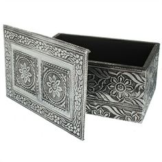 Embossed Wooden Rectangular Box £6.95 #wood #box #storage #home #decor #gift