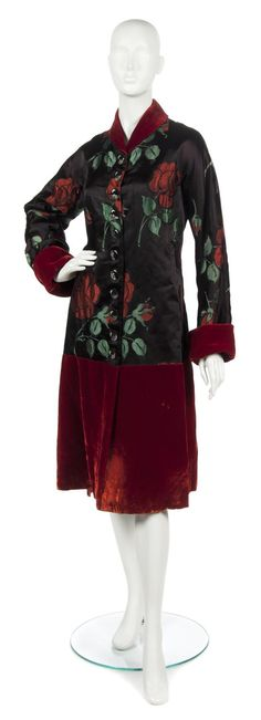 A Schiaparelli Couture Black Satin and Red Velvet Floral Evening Coat,   probably 1940s
