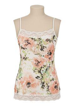 Floral Lace Print Cami - maurices.com