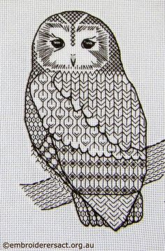 blackwork owl using pattern
