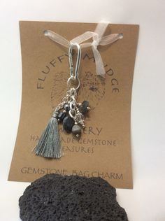 grey themed gemstone bag charm by fluffysmudge on Etsy https://www.etsy.com/uk/listing/449490402/grey-themed-gemstone-bag-charm