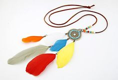 $8.99  Bohemian Colorful Feather Pendant Necklace