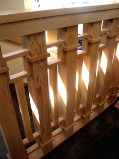 Frank Lloyd Wright Chain Style by Heistand Woodwork. Craftsman Interior, Craftsman Style Homes, Craftsman Bungalows, Craftsman Staircase, Railing Design, Staircase Design, Porch Stairs, Stair Handrail, Railings
