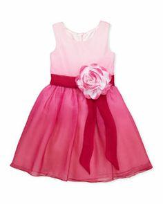 Z16Q9 Zoe Pretty in Pink Ombre Chiffon Dress, Sizes 2-6