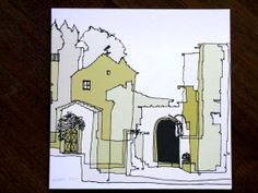 All Occasion Card with Architectural Sketch Vellano, Italy