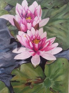 Zen Water Lily Painting Original by PoohArtcade on Etsy