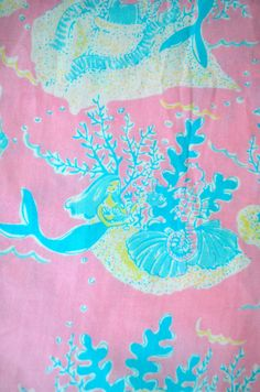 Lilly Pulitzer Under the Sea Fabric . Mermaids + lilly = perfection! Fabric via The Preppy Pony etsy shop.
