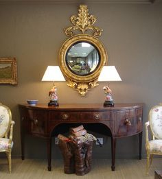 OnlineGalleries.com - George III figured mahogany and strung demilune sideboard