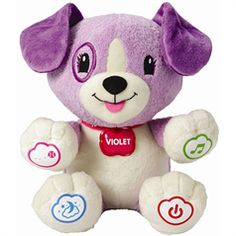 Of course you have already discovered the amazing world of leapfrog. Noah always sleeps with scout. Tip when you are shopping for electronic toys leapfrog always has volume control and V-tech only has one setting Loud! My Daughter loves this toy! Bedtime Music, V Tech, Puppy Names, Electronic Toys, Feelings And Emotions, Toys R Us, Learning Toys, Little Ones, Baby Gifts