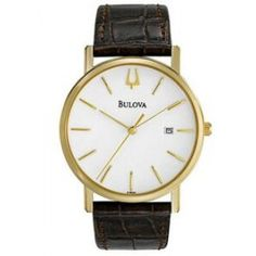 Bulova Men's Brown Leather Strap w/ Round Dial