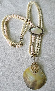 Upcycled Vintage Mother of Pearl Shell Pendant on Pearl Necklace | TimelessDesigns - Jewelry on ArtFire