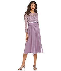 R and M Richards Lace Popover Chiffon Dress #Dillards