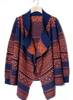 Zig-Zag Aztec Print Long Sleeve Knit with Ribbed Detail,  Sweater, aztec print sweater  knit, Casual