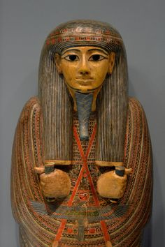 https://flic.kr/p/cmV4K5 | Coffin of Djedmontefankh | Leiden, Rijksmuseum van Oudheden, June 2012 AMM 18-h. Third Intermediate Period, 21st Dynasty (ca. 950-900 BCE). From Thebes. Wood, painted. H. 187.5 cm.