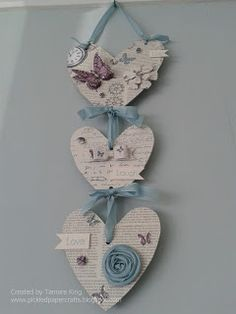 Heart wall hanging using Craftwork Cards 'Time Flies' collection & Stampin' Up seam binding