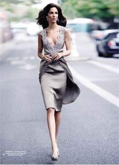grey lavender dress + lace   Eugenia Silva for Armani
