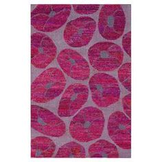 Hand-knotted wool and sari silk rug in pink.