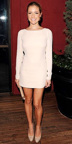 Kristin Cavallari wearing a formfitting white mini, nude Chinese Laundry pumps and a beige clutch