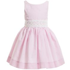 Pretty girls pale pink striped sleeveless dress by Ralph Lauren made from a lightweight seersucker cotton. In a classic style with full pleated skirt, it is fully lined, has an attached lace belt and fastens at the back with covered buttons.<br /> <ul> <li>100% cotton (soft, lightweight seersucker)<br /></li> <li>Fully lined</li> <li>Machine wash (30*C)</li> </ul>