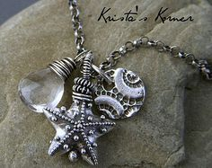 Sea Pod ~ PMC Recycled Fine Silver Gemstone Necklace