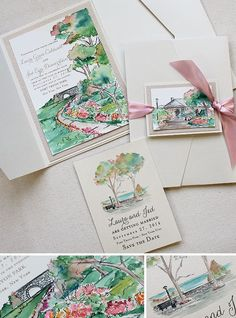 Peach and Green Watercolor Landscape Wedding Invitations, Hand Painted Wedding Stationery, Watercolor Wedding Invitations Pocket Wedding Invitations, Vintage Wedding Invitations, Watercolor Wedding Invitations, Printable Wedding Invitations, Wedding Invitation Design, Wedding Stationery, Party Invitations, Wedding Card Design, Wedding Cards