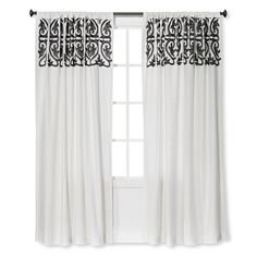 The Threshold Scroll Embroidery Curtain Panel has stunning embroidery printed atop scrolls and comes in 2 neutral color combos: Brown Linen with Sour Cream, and Sour Cream with Radiant Gray. This 100% cotton curtain panel is traditional in styling and comes in 2 lengths to ensure a perfect fit for your windows. For easy care machine wash in warm water and line dry.