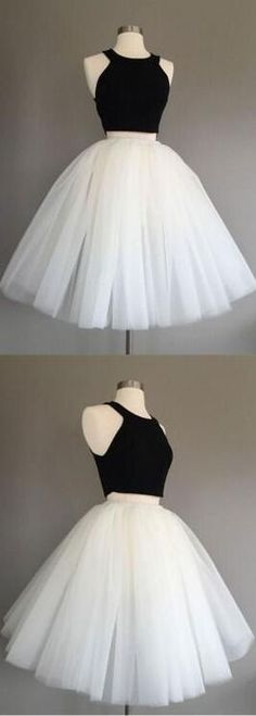 black and white, 2 pieces prom dress, A-line,