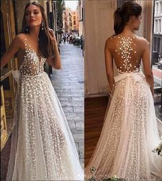 "berta fall 2019 muse bridal cap sleeves deep plunging v neck full embellishment romantic a line wedding dress sheer button back sweep train zv -- MUSE by Berta 2019 ""Barcelona"" Wedding Dresses Pink Wedding Dresses, Bridal Dresses, Boho Chic Wedding Dress, Sheer Wedding Dress, Bridesmaid Gowns, Pretty Dresses, Beautiful Dresses, Haute Couture Dresses, Couture Bridal"