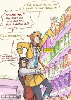 ace attorney Apollo and Athena  XD  The (Step-)ladder Running Gag !!!