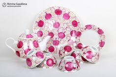 Pomegranates. Hand painted porcelain set. Exclusive porcelain from Rimma Gazalieva. $200