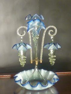 Victorian Blown Glass Epergne