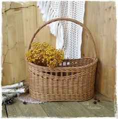 """Купить Корзина плетеная """"Дачный уют"""" - коричневый, плетеная корзина, овальная корзина, коричневая корзина"""