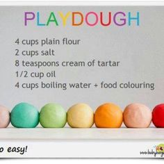 Play dough recipe, making this this weekend yay my girls are gonna love it!