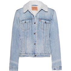 LEVI`S East LA Vintage Light Blue // Denim jacket with fake fur (474.235 COP) ❤ liked on Polyvore featuring outerwear, jackets, jean jacket, retro jackets, faux fur jacket, slim fit jean jacket and slim fit jackets
