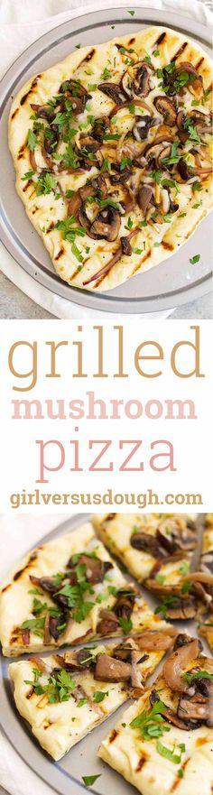 Grilled Mushroom Pizza with Rosemary and Smoked Mozzarella -- fresh and flavorful and with a soft and chewy homemade pizza crust, this grilled pizza is the perfect recipe for summer! girlversusdough.com @girlversusdough