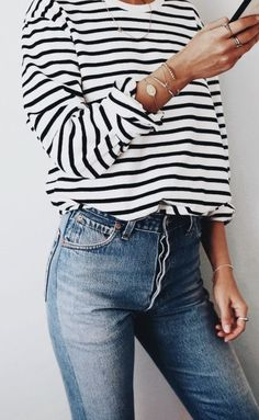 stripe longsleeves + denim || outfit ideas #ootd