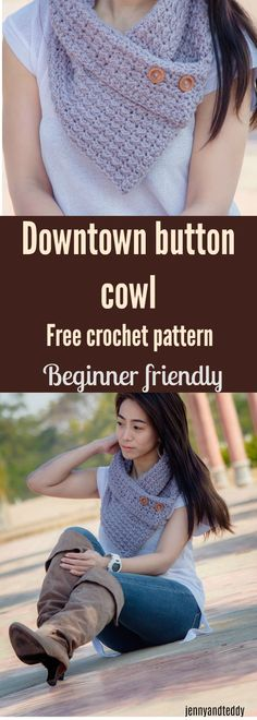 Downtown button crochet cowl make with bulky weight worsted yarn or acrylic yarn, Quick and easy to whip up . Beginner friendly by jennyandteddy.