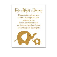 Baby Shower White Gold Glitter Elephant - Activity Late Night Diapers - Instant Download Printable