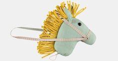 Coarse linen/viscose dusy green fabric - Stoff & Stil - DIY hobby horse toy