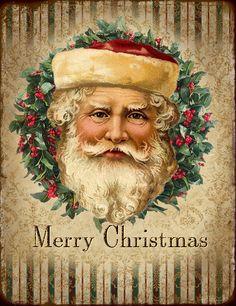 Prachtig plaatje van een ouderwetse kerstman. Geweldig