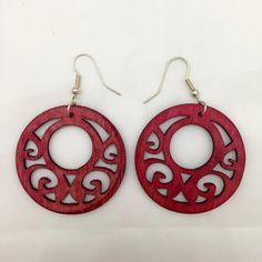 """Handmade earrings Beautiful dark red earrings made of lightweight wood. Laser cut designs. Originally purchased on Etsy. Measures 1.75"""" in diameter. Jewelry Earrings"""