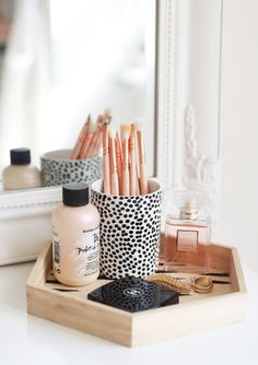 Home accessory: home decor wood tray cosmetics bathroom goals bathroom perfume bumble and bumble