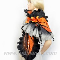 NEW Felted scarf 3D ART made from wool and silk Black by RudmanArt
