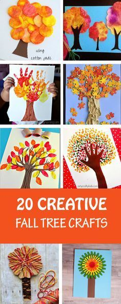 20 creative fall tree crafts for kids to make this autumn. So many different art and craft techniques used to create these autumn trees: colored pumpkin seeds, bubble wrap, tissue paper, Q-tip, pap Arts And Crafts Movement, Fall Arts And Crafts, Autumn Crafts, Crafts For Kids To Make, Autumn Art, Autumn Trees, Holiday Crafts, Easy Crafts, Toddler Crafts