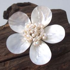 A sweet accessorry for a sweet lady, this pin/brooch was handcrafted from thailand. This piece features natural shells and freshwater pearls in a floral design.