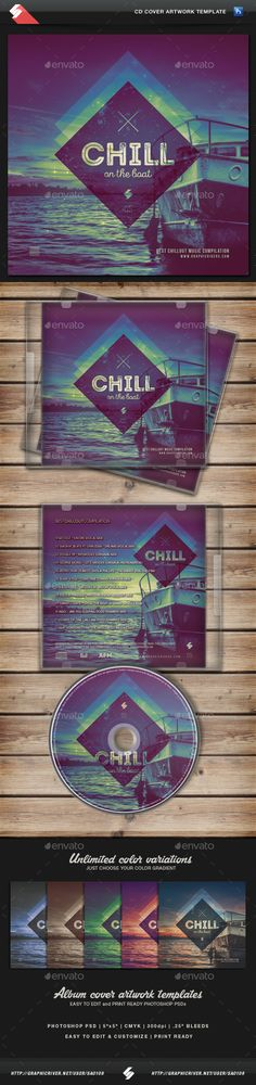 Chill On The Boat - Music CD Cover Template - CD & DVD Artwork Print Templates