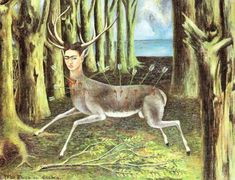 Frida Kahlo – Wounded Deer, 1946 - Painting her tragic destiny whole of her life, Frida here depicts herself as a wounded woodland animal, in a completely surreal environment.