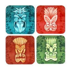Tiki Coasters, set of 4 | The Inkabilly Emporium