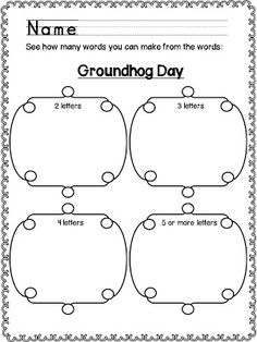 Classroom Freebies Too: Groundhog Day: How Many Words?